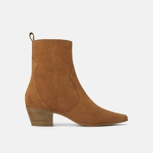 NWT • Zara • Leather Heeled Cowboy Ankle Boots